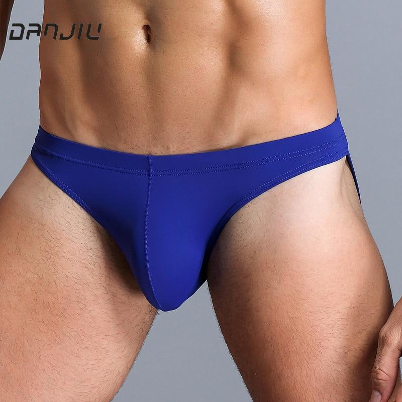 DANJIU Ice Silk Solid Sexy Gay Male Underwear Low Waist Thin Mens Briefs U Convex Transparent Calzoncillos Seamless Underpants