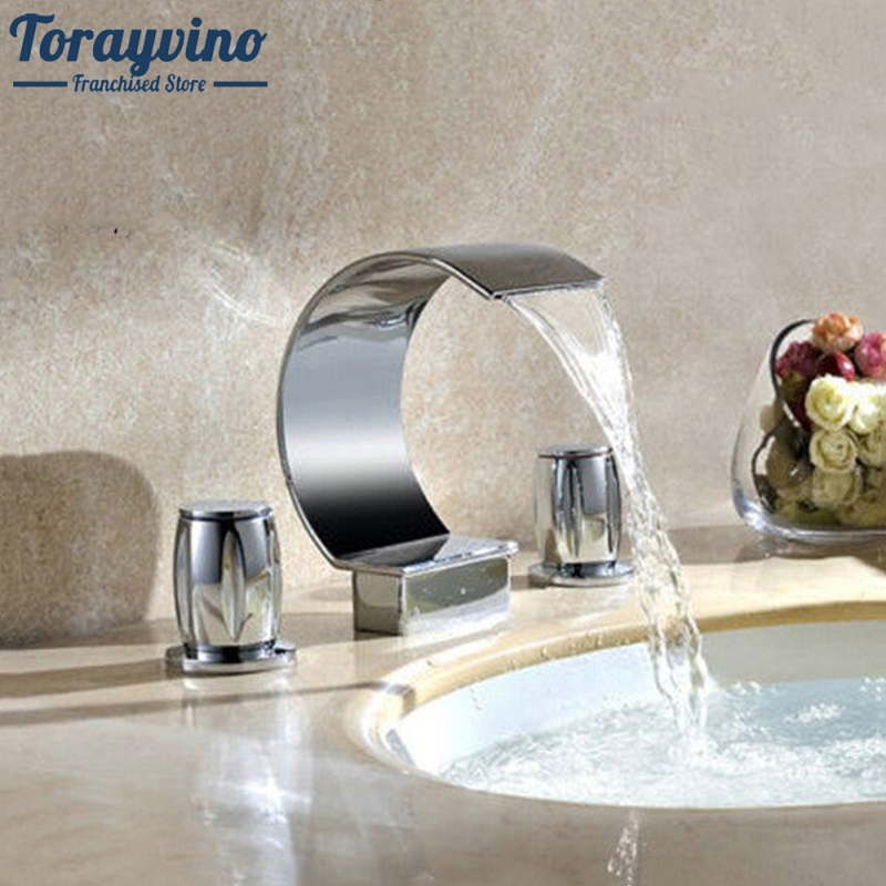 Bathroom Tap 3 Pcs Set flush Cold& Hot Water Mixer Taps Bathroom Faucet Bathroom Basin Faucet Deck Mounted Washbasin led waterfall bathroom basin faucet deck mounted washbasin bathroom tap 5 pcs set flush cold and hot water mixer taps