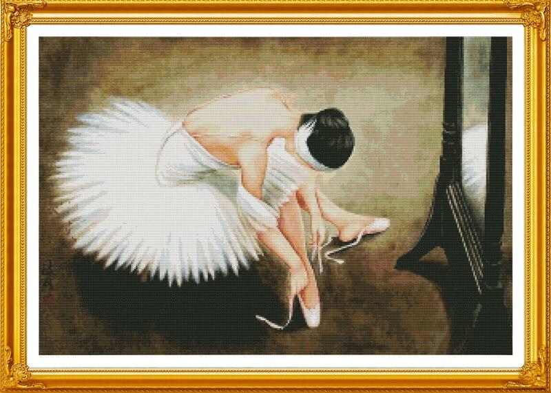 Generoso Una Ballerina (2) Cotone Persone Attraversano Kit Punto Dmc 11ct Stampa Dipinti Ricamo A Mano Fai Da Te Ricamo Della Decorazione Della Casa Decor Ricamo