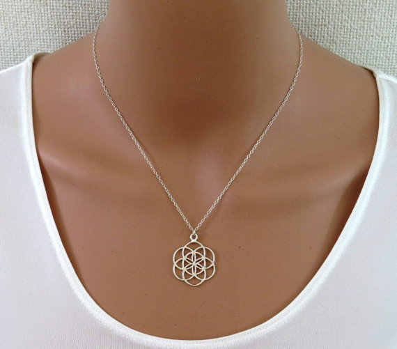 mandala necklace flower of life pendant kabbalah sacred geometry necklace for women gift