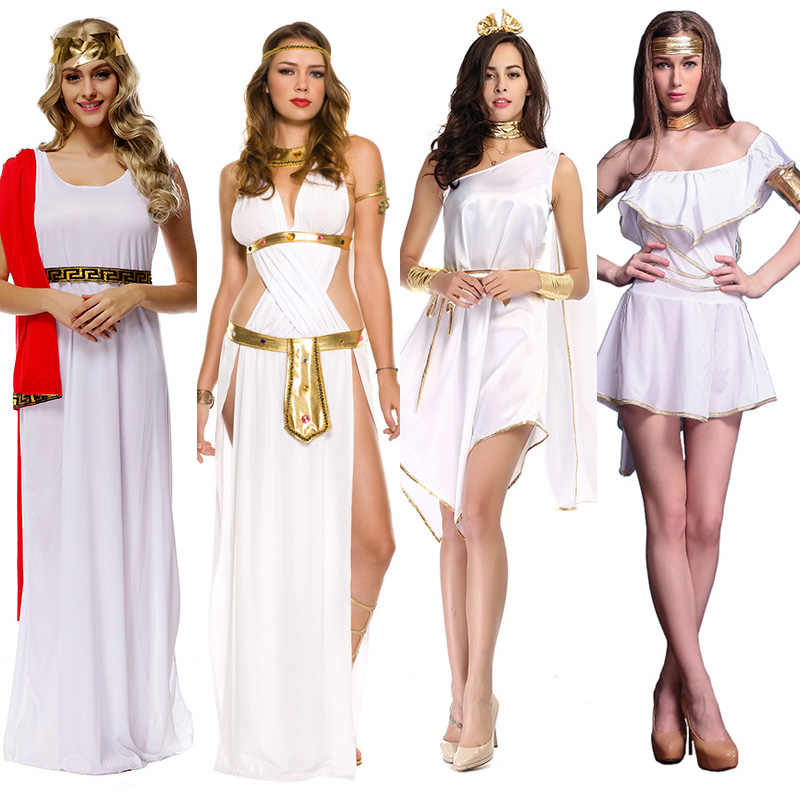 Ladies Roman Princess Toga Fancy Dress Halloween Greek Olympic Goddess Grecian Outfit Costume