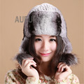 Real Rex Rabbit Fur Earmuffs Cap Women Fashion Winter Hat Warm Cap with Fox Fur Ball Decorated Thick Ears-protected AU00640