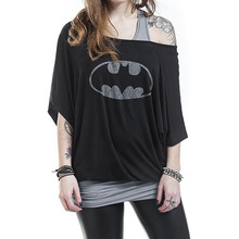 2017 Brand Batman T Shirt Women Black Slim Off Shoulder Casual Loose Shirts Women's Fake Two Piece Print Bat Sleeve T-Shirt