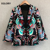 High Quality Jackets 2019 Spring Autumn Coat Outerwear Women Vintage Embroidery Single Breasted Long Sleeve Coat Jacket XXL