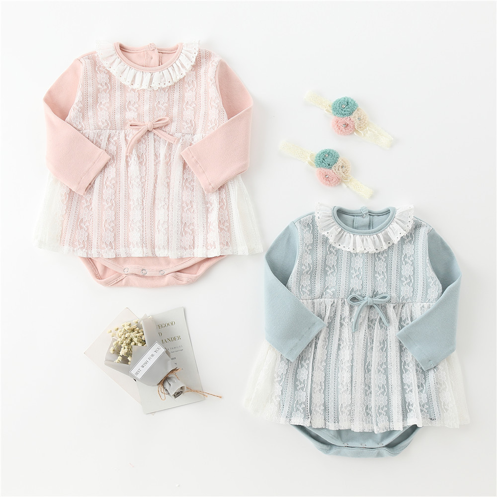 Ins Blockbuster Autumn Baby Girl 100-day Dress Lace Cotton Triangular Dress, Jumpsuit And Climbing Suit Bodysuits With Hairband