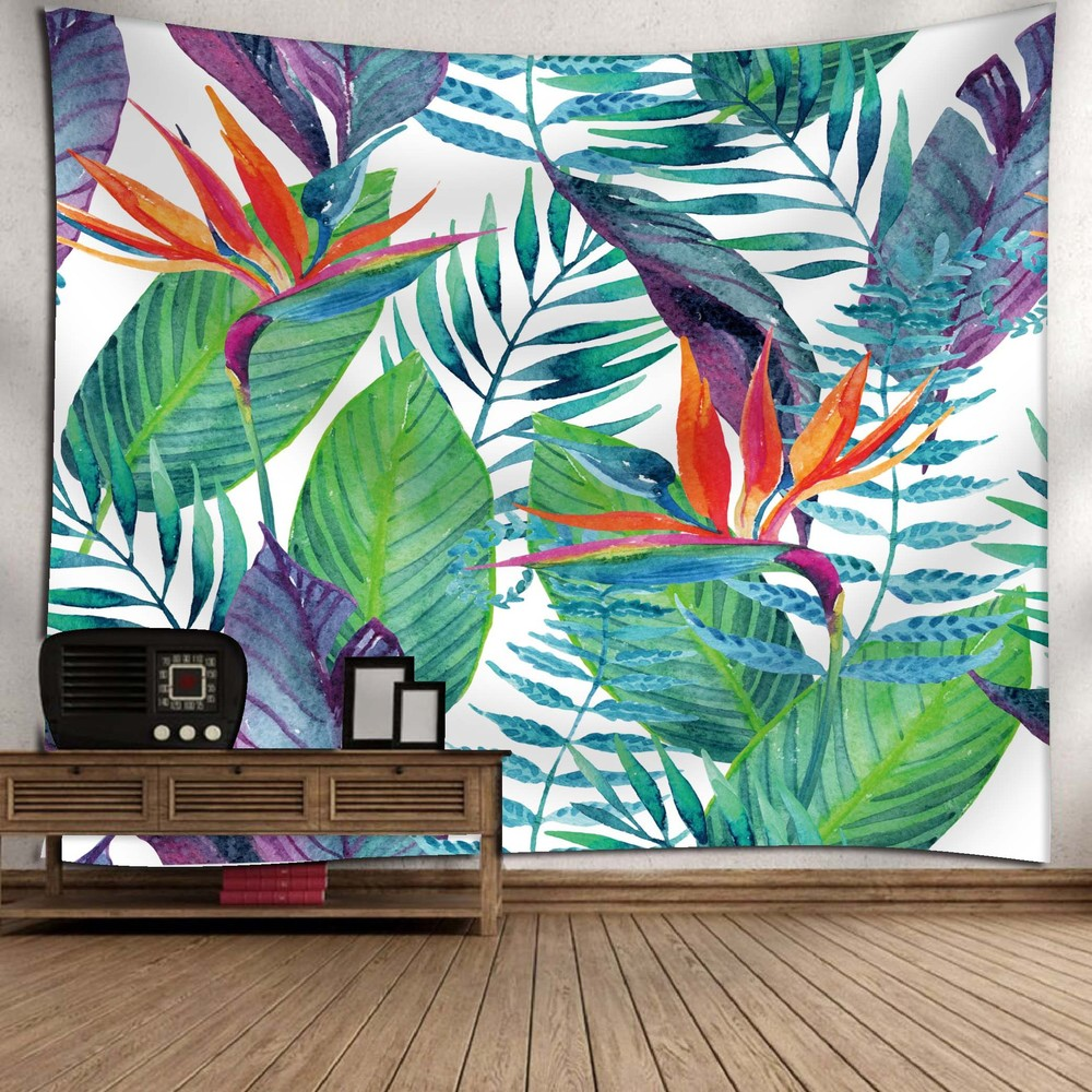 Tropical Plant Pattern Tapestry Bohemian Palm Leaf Cactus Decorative Beach Towel Boho Wall Hanging Blanket Carpet Decor in Tapestry from Home Garden