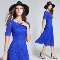 HANZANGL Womens Elegant Sexy Lace See Through Tunic Casual Club Bridesmaid Mother of Bride Dress Skater A Line Party Dress