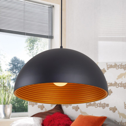 modern brief black single layer dia30/40/50 half round iron pendent lamp creative lid shape pendent lights for dining room bar