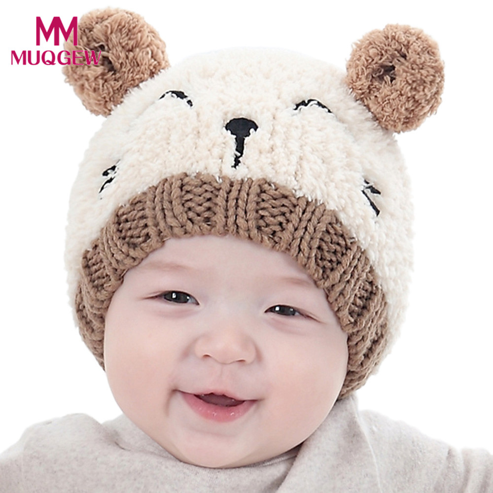 22987f63c12 Baby newborn hat winter cartoon cat Toddler Kids Boy Girl Knitted Lovely  Soft caps Red Yellow Pink Beige bonnet topi bayi online cheap