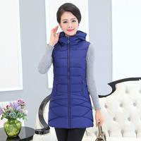 Winter Vest Women New Fashion Waistcoat Women's Sleeveless Vest Jacket Hooded Cotton Padded Warm Long Vest Coat Parka 4XL C4725