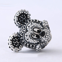 Fashion Perles Jewelry 925 Sterling Silver CZ Mickey Pendants Charm Bead Bijoux Beads Fit Diy Pandora