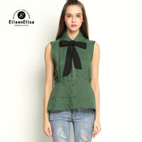 Runway Blouse 2017 Summer Arm Green Top Womens Sleeveless Luxury Blouses Woman With Bow Tie