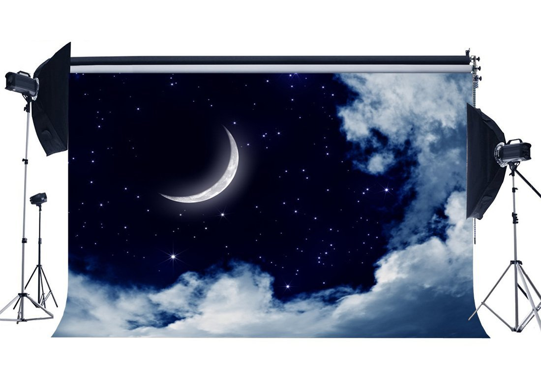 wall backdrop Vinyl cloth High quality Computer print Night Sky Crescent Moon Stars White Clouds background