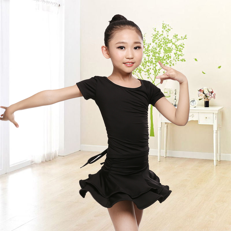 Childrens Latin Dance Stage Performance Costume Child Kids Dancewear Short Sleeve Ballroom Cha Cha Rumba Tango Dance Dresses