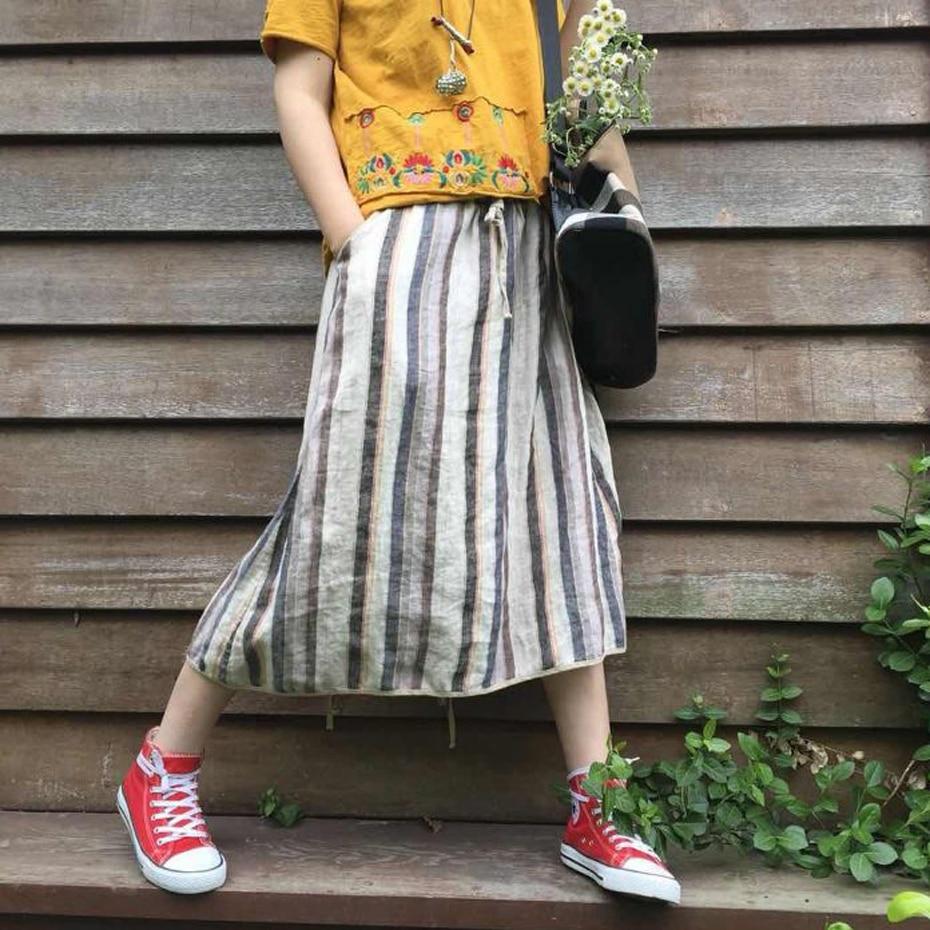 Linen Cotton Skirt for Women Striped Vintage Long Fashion Summer 80749-1