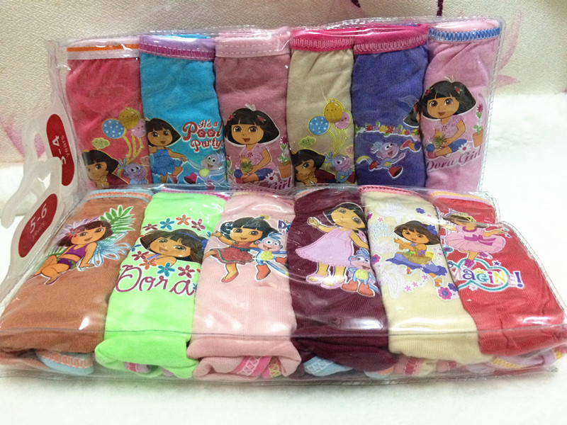 6pcs/lot Wholesale Fast Shipping Girl's Dora Briefs Children Underwear Panties Kid's Cute Cartoon Underwear 6 Colors/Bag 6Sizes