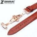 18 mm 20 mm 22 mm castanho claro de relógio de couro com fecho de aço inoxidável ouro rosa