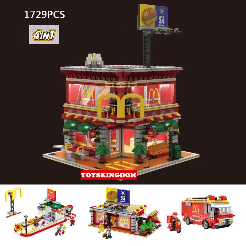 2017 Hot street view Ronald Restaurant 4 in 1 Wheels on Meals building block compatible standard brick size city toys For kid harriott ainsley ainsley harriott s low fat meals in minutes