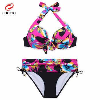 COOCLO 2019 Large Size Bikinis Set Russia Women Swimsuit Floral Print Plus Size Bikini Sexy Biquinis Women Vintage Swimwear 7XL