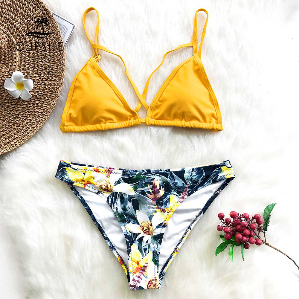 fb784385840 ... CUPSHE Yellow Floral Print And Solid Cross Bikini Sets Women Heart Neck  Backless Two Pieces Swimwear ...