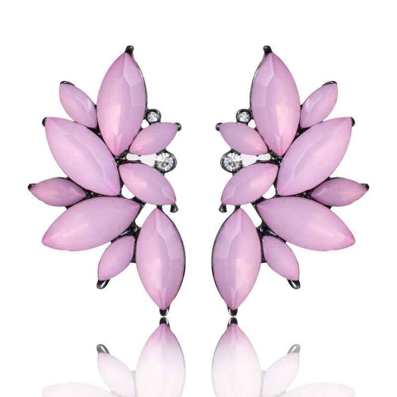 Nouveau mode fleur verre boucle d'oreille pour les femmes noir rouge rose grand luxe boucles d'oreilles pendentif cristal gemme déclaration bijoux
