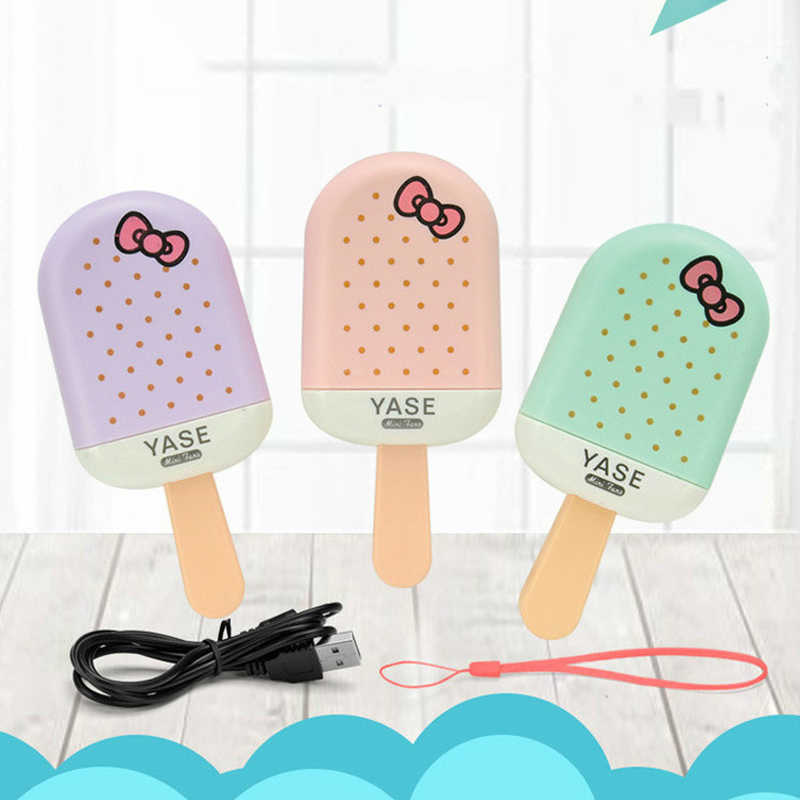 Mini Handheld Ijs Opladen Draagbare Popsicle Fan Student Cartoon Kleine Ventilator Outdoor Handheld Fan