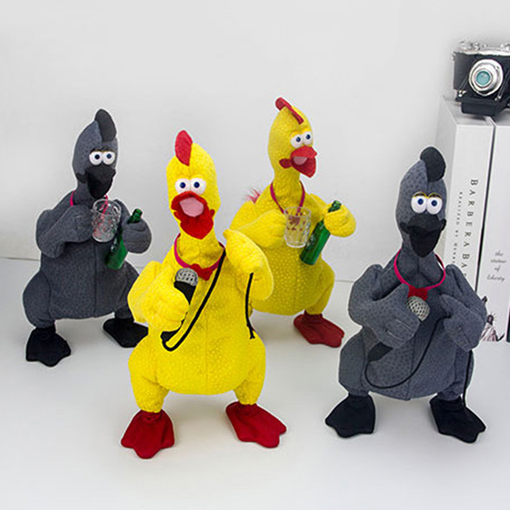 Electric Chicken Screaming Cock Drinking Beer Karaoke Duck Weird Singing Dancing Prank Funny Grotesque Plush Toys