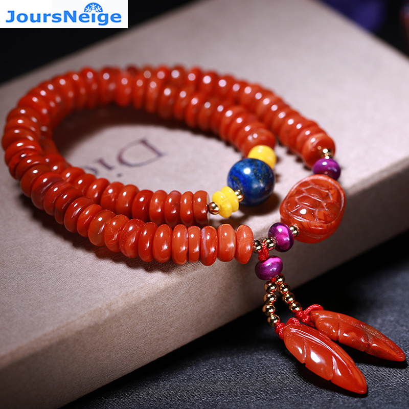 Fine Langshan South Red Natural Crystal Bracelets Round Beads Leave Pendant Hand String for Women Girl Crystal Jewelry wholesale candy coloured string hand chain bracelets