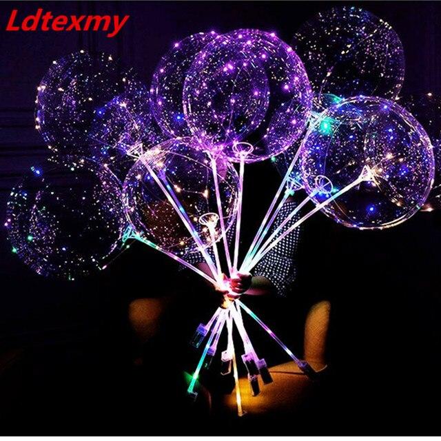 50 pièces BoBo Ballons Ballon LED Clair Bulle Ballon De Mariage Décorations de Fête Danniversaire Enfants Adultes globos cumpleanos infantiles