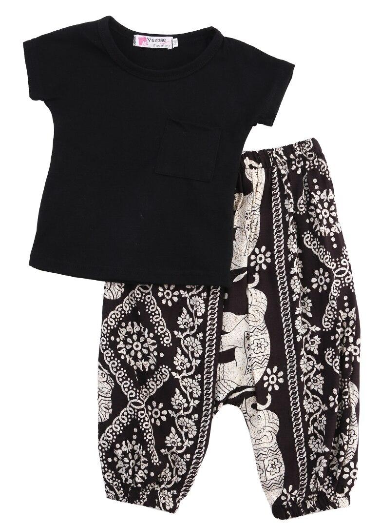 2016 Summer Style Girl Clothes Shirts Harem Pants 2pcs