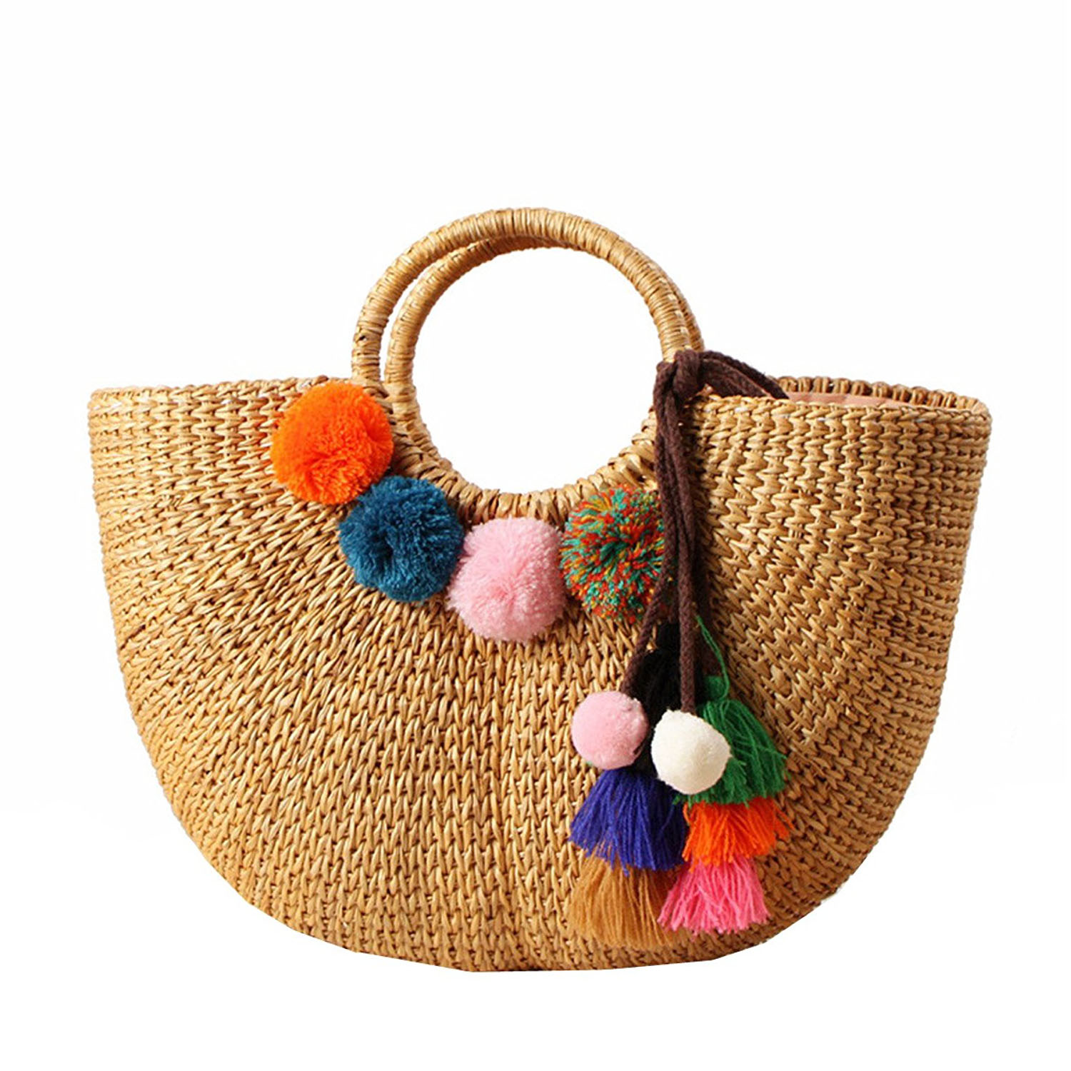 DCOS Womens Vintage Straw Woven Handbags Casual Beach Vacation Large Tote Bags With Round Handle Ring(Hairball)Top-Handle Bags   -