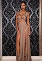 2016 Venta Caliente de La Piso-Longitud de Largo Vestido de Profundo Escote En V Volver Crossing Vent Badange Vestidos de Verano Sexy vestidos Del Club