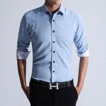 2016 Men's Fashion Plaid Shirt High Quality Slim Fit Men Clothes Long-sleeve Shirt for Male Plus Size M-5XL Free Shipping