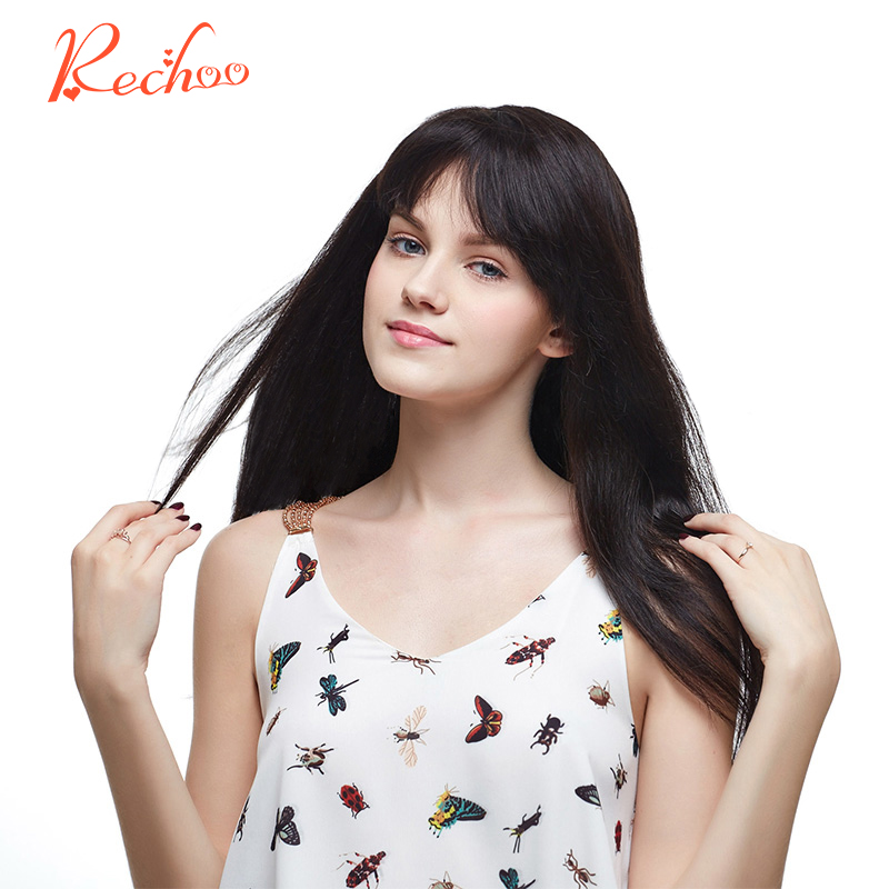 Rechoo Straight Machine Made Remy Hair 1B Natural Black Color 100 Human Hair 10PCS Clip In