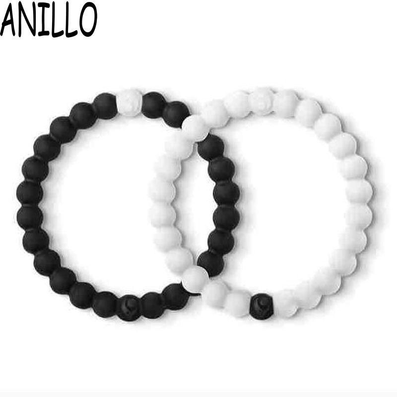 ANILLO 2 Pcs Black And White Yin Yang Distance Bracelets Silicone Charm Bracelets Lovers Bangle For Men Women 4 Size
