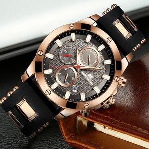 Image 2 - MEGALITH אופנה הכרונוגרף גברים שעונים תאריך סיליקון רצועת ספורט קוורץ שעון גברים זוהר עמיד למים שעון Relogio Masculino