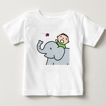 children T-shirt Minna no Tabo digital printing T shirt Ride an elephant Tour 2-15Y baby boy and girl summer T shirt  children T kadowaki kaoru 2 edition minna no nihongo shokyu i