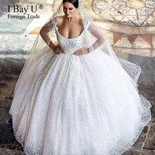 뜨거운 판매 럭셔리 진주 부드러운 tulle 신부 가운 비즈 로브 드 mariage 공주 웨딩 드레스 2020 작은 기차 vestido 드 novia