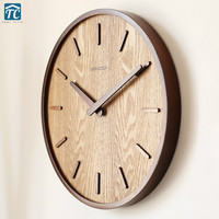 Wooden Quartz Wall Clock Modern Decoration Hanging Watch Living Room Bedroom Japanese Home Quiet Circular 14inches Vintage