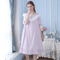 2018 New Arrival Spring Cotton Long Nightgown Royal Vintage Princess Sleepwear LacePrincess grace Medieval Chemise Dresses YC202