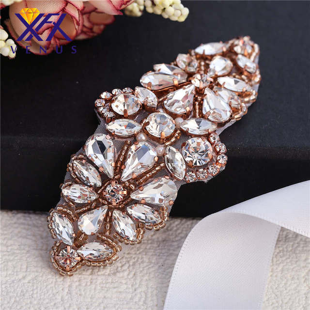 XINFANGXIU Wellmade Small Rhinestone appliques beaded crystal appliques for  baby headband bridal dress sparkly 8d2feae1224c