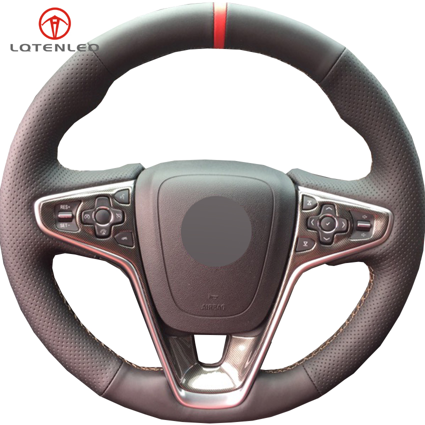 LQTENLEO Black Genuine Leather DIY Hand stitched Car Steering Wheel Cover for Buick Regal GS 2014