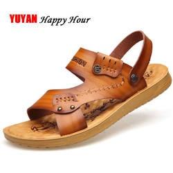 2019 сандалии мужские плоские пляжные сандалии Мягкая кожа летняя повседневная обувь мужские сандалии Летняя мужская обувь на толстой