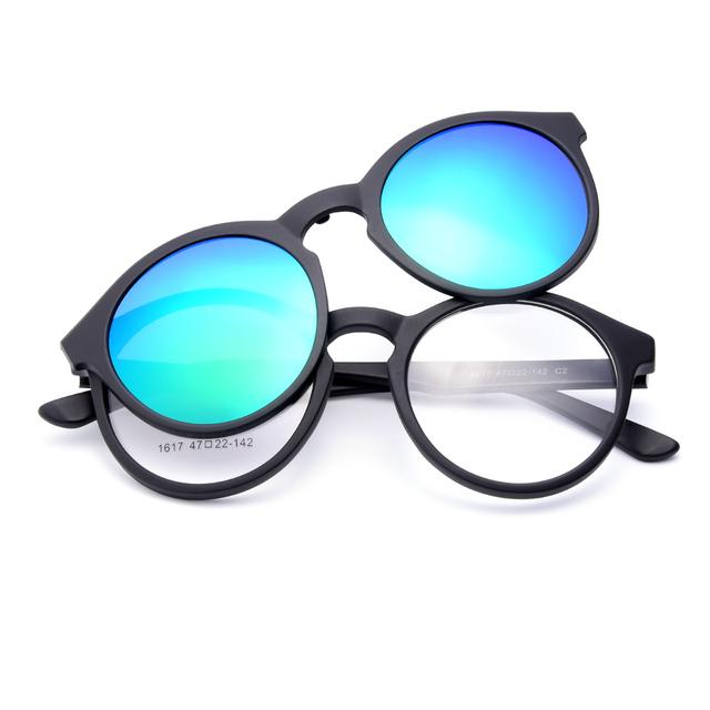 Anteojos TR90 Marco Óptico 1617 Urltra-light Gmei con Polarizado Clip Sombrillas para Hombres y Mujeres Gafas