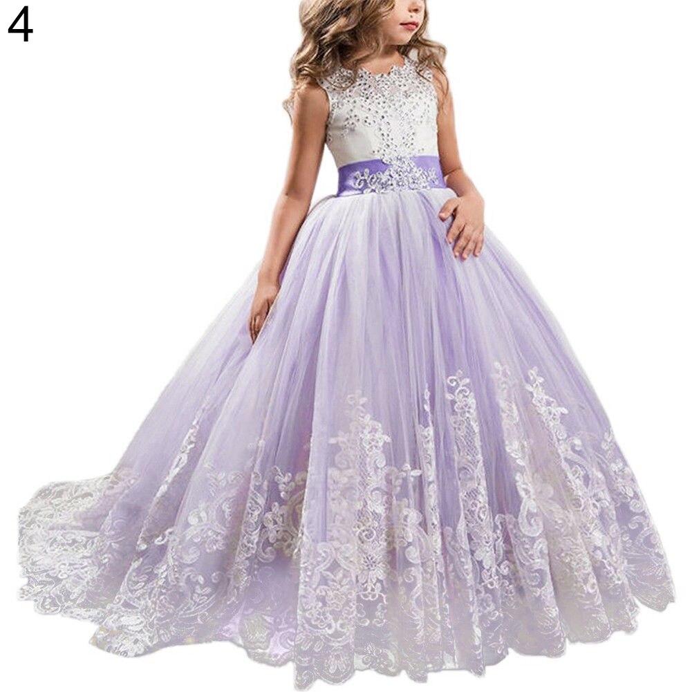 Mode jolie fille robe de princesse dentelle traînant robe pour enfants fête mariage demoiselle d'honneur - 5