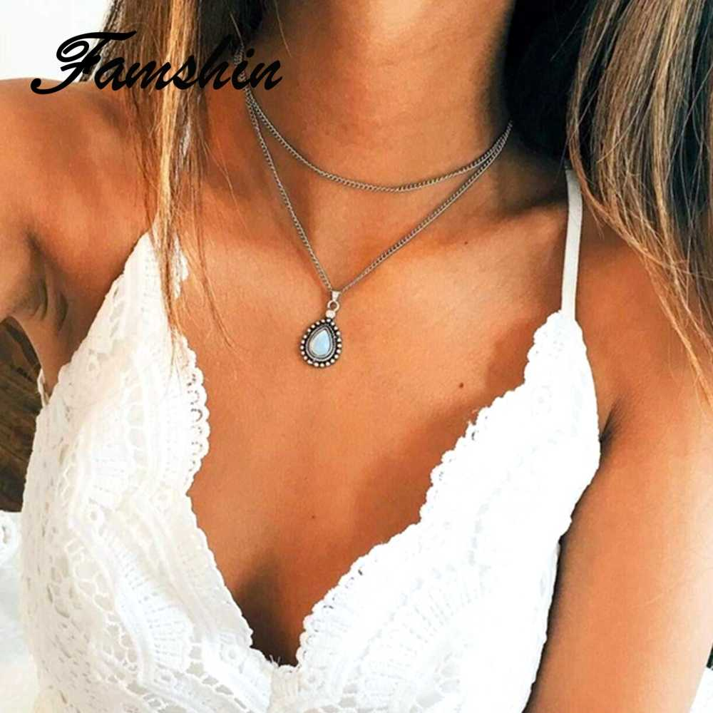 FAMSHIN Fashion Multi Layer Vintage Silver Color Drop Stone Pendant Necklace Boho Jewelry Women Girl Jewelry Gifts