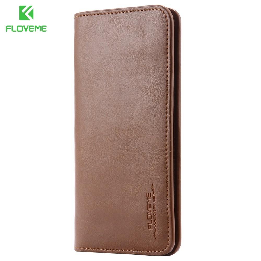 FLOVEME 5,5 Zoll Universal Wallet Pouch Case für iPhone 6 6s Plus Echtleder für iPhone 7 7 Plus 8 8 Plus Echtledertasche
