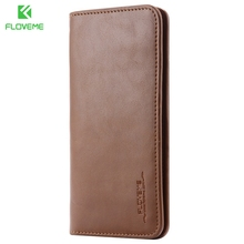 FLOVEME Genuine Leather Wallet Pouch Case for iphone 7 6s Plus , Real Phone Pouches For Samsung Galaxy S6 S7 Cover Card