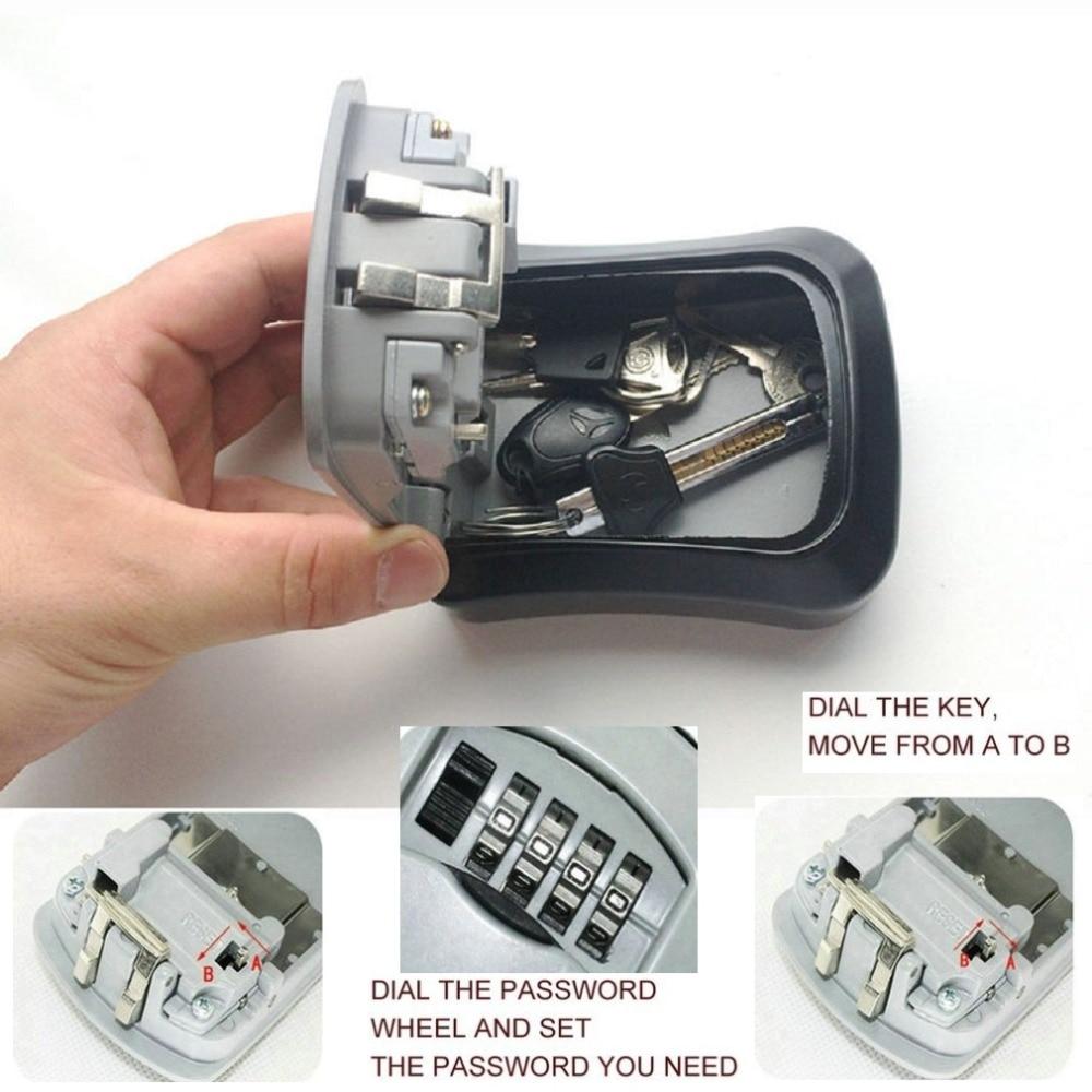 4 Digit Combination Password Keys Box Key Storage Organizer Case Wall Mounted Home Security Lock Tool Metal Key Box Hot Sales Safes     - title=