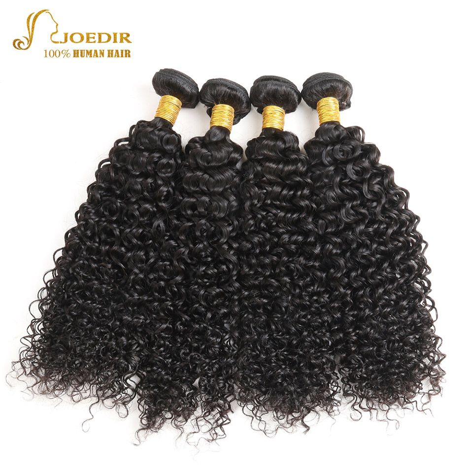JOEDIR Hair Indian 4 Bundles Deals Afro Kinky Curly Hair Extensions 10 To 26 Inch Non Remy NATURAL BLACK Human Hair Bundles